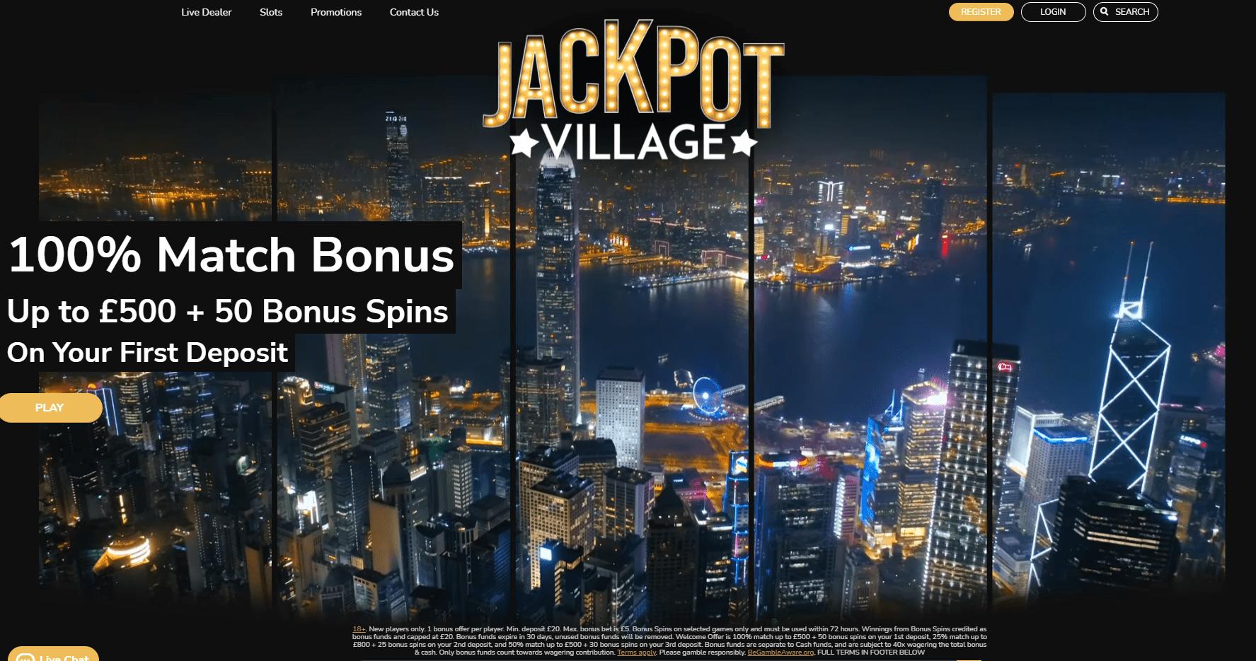jackpot village landing page