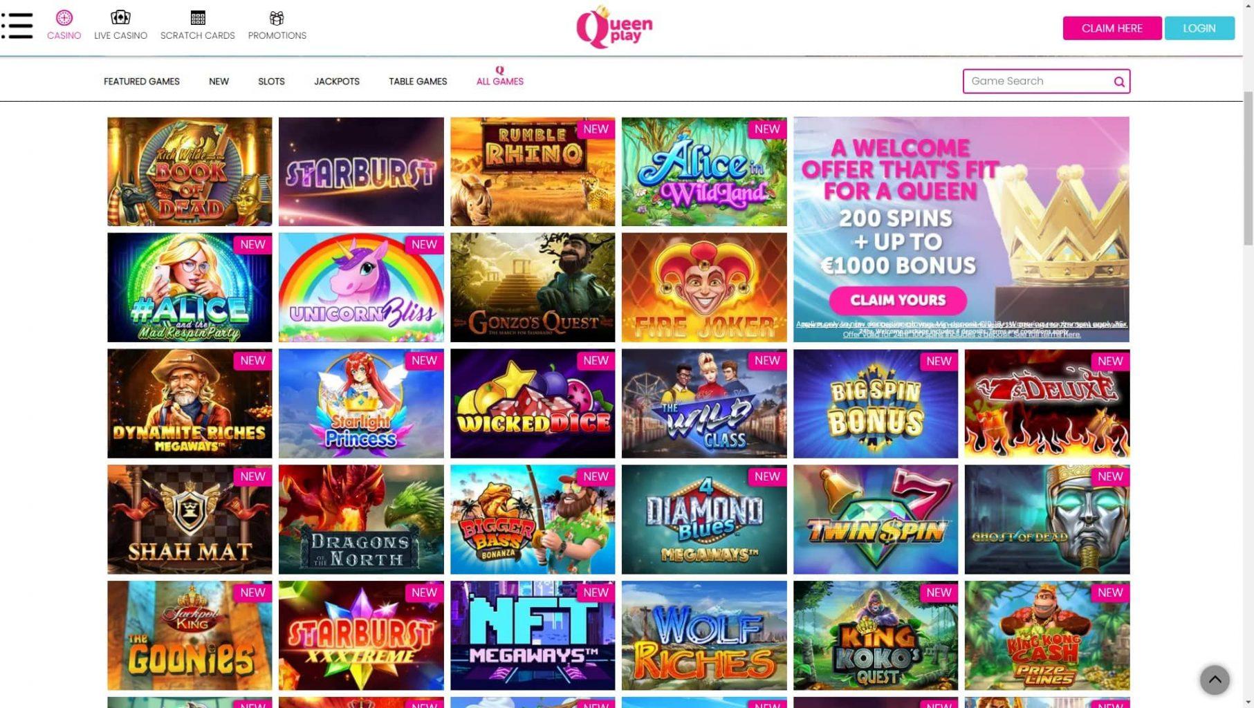 Queen Play slot games