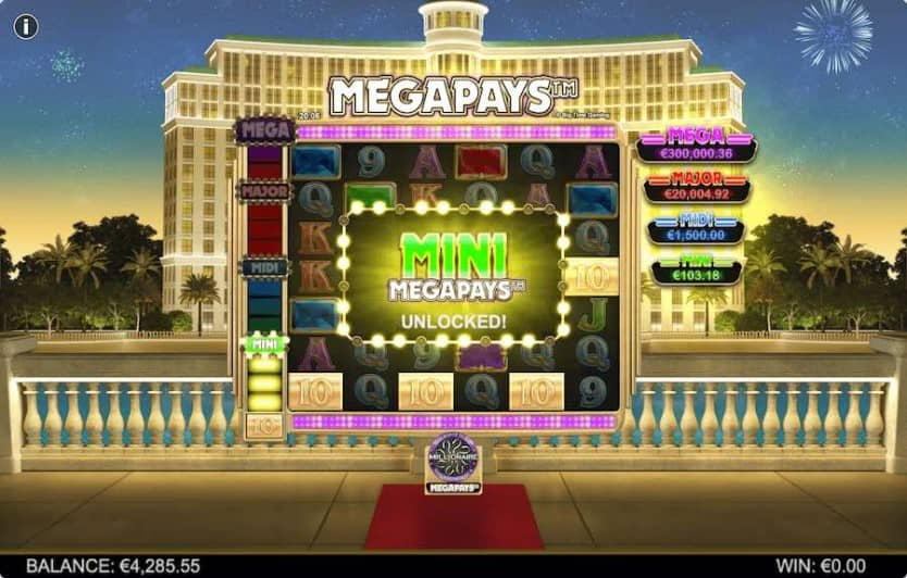 who wants to be a millionaire megapays jackpot feature